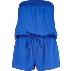 I'm shopping Blue bandeau waisted playsuit in the River Island iPhone app.