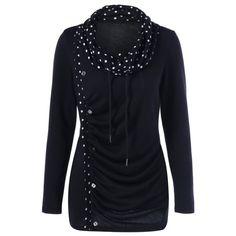 Cowl Neck Polka Dot Trim T-Shirt, WHITE/BLACK, L in Long Sleeves | DressLily.com