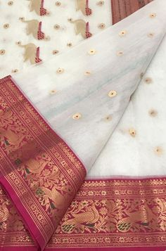 Off White Handloom Chanderi Pure Katan Silk Saree