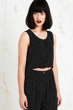 Cooperative Button-Through Spot Blouse in Black