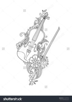 Coloring page - violin and bow with flowers and leafs in floral mehendi doodle style isolated on white background. Antistress coloring book for adult. Colouring Pages, Coloring Sheets, Coloring Book, Violin Tumblr, Hand Embroidery Designs, Embroidery Patterns, Music Illustration, Illustrations, Doodle Designs