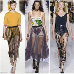 "Fashion Trend for SS18 ""Beachwear"": Swimwear as a ""top"" layered under sheer skirt. Dries Van Noten, Christian Dior, Balmain Spring Summer 2018 Paris PFW. More SS18 Fashion Trends."