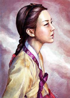 Illustratively in hanbok by canitiem on DeviantArt Korean Image, Korean Art, Asian Art, Korean Traditional Dress, Korean Language, Creative Pictures, Traditional Paintings, Drawing Practice, Japanese Art