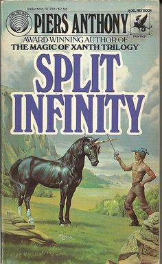 My father introduced me to the written worlds of fantasy with this book when I was a teenager and I've been addicted ever since!  LOVED this trilogy and the author, Piers Anthony.  Split Infinity, Blue Adept, and Juxtaposition (1982, Paperback)