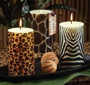Pack of 6 Safari Scented Animal Print Pillar Candles - bedroom console
