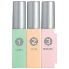 Physicians Formula Cream Concealer Trio in Green/Light/Pink, vials snap together for portability