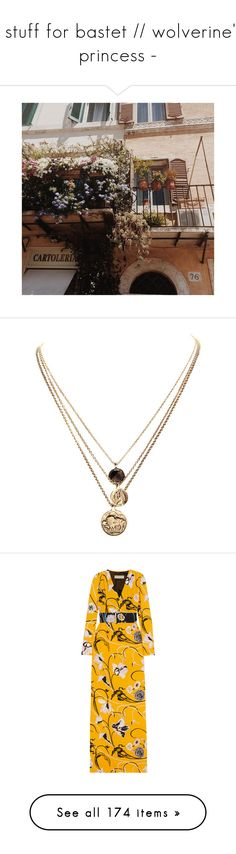 """""""- stuff for bastet // wolverine's princess -"""" by queerlillady ❤ liked on Polyvore featuring jewelry, necklaces, accessories, colares, layered chain necklace, pendant necklaces, gold plated jewellery, coin charm necklace, charm necklace and dresses"""