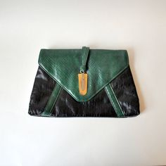vintage clutch / 1960s handbag / black and by RockAndRollVintage, $65.00
