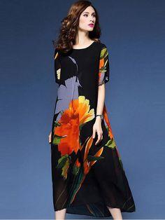 25822d4fc9f Buy Vintage O-Neck Short Sleeve Floral Print Loose Shift Dress