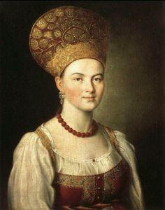 Iván Argunov 1729-1802 Mujer en traje ruso.
