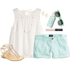 Cream & Mint by steffiestaffie on Polyvore featuring polyvore, fashion, style, H&M, American Eagle Outfitters, Pelle Moda, Kendra Scott, NARS Cosmetics and Benefit