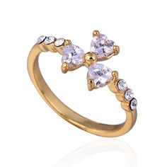 Fashion Three Leaf Clover Design 18K Gold Plated Copper Finger Ring Inlay Zircon Full Sizes