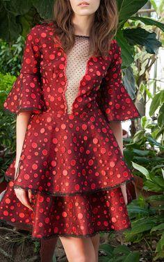 Embroidered Lace Flared Mini Dress by COSTARELLOS for Preorder on Moda Operandi