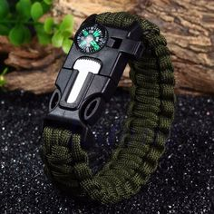 High Quality 5 in 1 Outdoor Survival Gear Escape Paracord Bracelet Flint / Compass / Whistle Brand New Camping & Hiking
