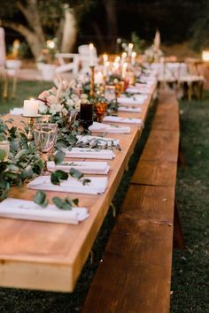 A rustic, boho chic table setting for this outdoor backyard wedding. Featuring a. A rustic, boho chic table setting for this outdoor backyard wedding. Featuring a reception on the grass and lots of gree. Backyard Weddings, Outdoor Weddings, Rustic Weddings, Outdoor Wedding Centerpieces, Rustic Boho Wedding, Wedding Greenery, Spring Weddings, Romantic Weddings, Wedding Decorations