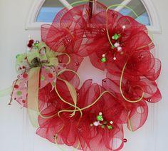Christmas wreath, mesh Christmas wreath, outdoor Christmas wreath, Christmas decoration, outdoor door wreath, front door wreath, wreath by ritzywreaths on Etsy