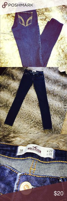 Hollister skinny jeans 👖 Size 5R. W: 27 L:31 great condition!! 📦= items will be shipped. 🚫= no trades or offers will be accepted. Price is final. Hollister Jeans Skinny