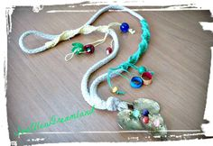 """Handmade necklace with brass foundry ivy leaf, colorful semiprecious beads and """"flowers"""" from silkworm cocoons and macrame decoration! by SueEllenDreamland on Etsy Handmade Necklaces, Handmade Items, Handmade Gifts, Boho Necklace, Crochet Necklace, Ivy Leaf, Macrame, Brass, Silk"""