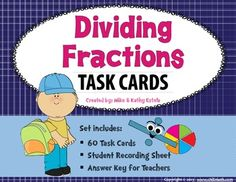 Dividing Fractions Task Cards $ Love Math, Fun Math, Math Games, Dividing Fractions, Math Fractions, Sixth Grade Math, Teaching Math, Teaching Ideas, Recording Sheets