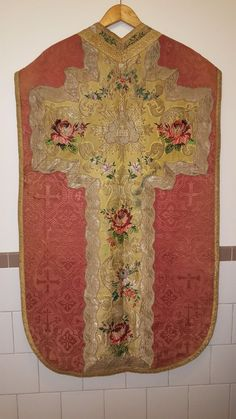Antique Vestment, Rose Roman Chasuble, Antique French Chasuble, Pink