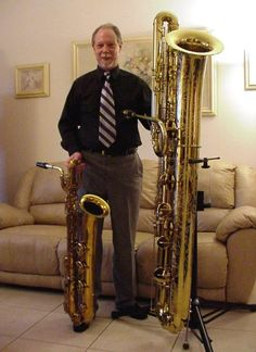 Selmer baritone sax and Eppelsheim contrabass sax  In this photo:   Randy Emerick, holy smokes bat man!