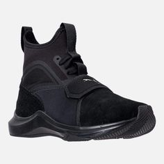 Puma Women's Phenom Suede Casual Sneakers from Finish Line - Black 11 Sneakers Outfit Men, Sneakers Fashion Outfits, Casual Sneakers, Casual Shoes, Black High Top Sneakers, Brown Sneakers, Puma Sneakers, Suede Sneakers, Puma High Tops