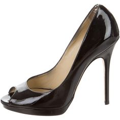 Jimmy Choo Patent Leather Peep-Toe Pumps ($245) ❤ liked on Polyvore featuring shoes, pumps, black, kohl shoes, black shoes, patent shoes, black patent shoes and patent pumps