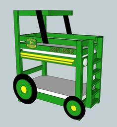 Oh, we know some toddlers who'd love these John Deere Tractor Toddler Bunk Beds! Get the instructions free at Ana White, Homemaker.
