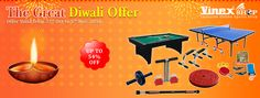 The Great Diwali Offer: Enjoy Up To 54% Off on wide range of Vinex Sports / Fitness Equipment & Accessories like Table Tennis Table, Pool Tables, Snooker Tables, Soccer Tables, Board Games, Cricket Equipment, Boxing Equipment, Basketball Equipment, Badminton, Treadmills, Nunchaku, Push Up Bar, Tummy Trimmer, Dumbbells, Weight Lifting Plates, Medicine Balls and much more. Hurry, Offer valid from 27th Oct to 5th Nov, 2016. To To view all offers, please visit given below link…