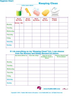 Free Printable Toddler Hygiene Chart for Toddlers and Preschool