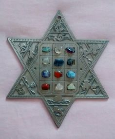 Shield of David with stones that represent the twelve tribes.