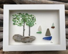 Original Sea Glass Art by lieu, Pebble art, Driftwood Art, Beach Home Decor, Sailing