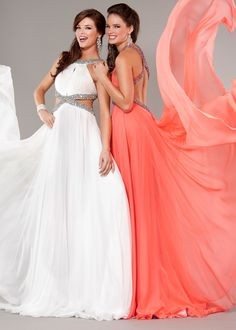 BEAUTIFUL White, Coral Sequin Open Back Evening Gowns with Side Cut Outs - Pageant Gowns - Prom Dresses 2013 - Jovani 7506