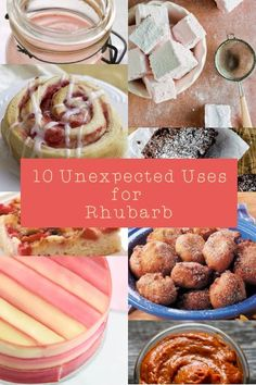 10 unexpected uses for rhubarb. From scones to tarts and iced tea to wine, ice-cream, parfait, hand pies and jam. Common flavour combinations include rhubarb and strawberry, or rhubarb and raspberry, but other recipes also combine rhubarb with nuts like pecans or almonds, spices like ginger, cardamom, cinnamon or nutmeg, dairy products like yoghurt, cream, cream cheese, ricotta cheese, or buttermilk and various other flavours like coconut, carrots, rose, lemon, honey, and oats!