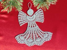 Crochet Silver Angel Christmas Ornaments Decoration by MaddaKnits