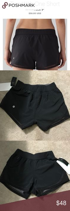 "Two With One Short- reversible Lululemon shorts Super comfy, reversible Lululemon shorts! ""Black"" on one side, and ""sea spray alpine white dark chrome"" on the other! Medium rise, small zipper on the side, 3"" inseam. lululemon athletica Shorts"