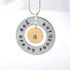 Initial necklace You are my sunshine by myjewelrystory on Etsy. $18.00, via Etsy.