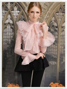 Morpheus Boutique - Pink Flare Sleeve Bow Layer Hemline Ruffle Shirt