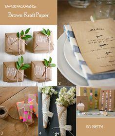 Charming favor packaging ideas - using brown kraft paper