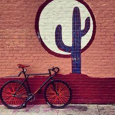 Regram: @fixiegram!! Texas Fixie??#love #fixie #fixiebike #learher #accessories #environmentalist #future #love #cactus #plants @kjoreproject @fixiegram