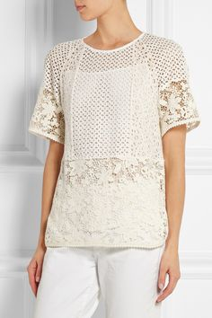 See by Chloé | Broderie anglaise-paneled guipure lace top | NET-A-PORTER.COM