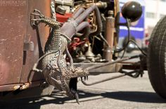Fire breathing dragon exhaust on a rat rod - how crazy is this????