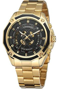 Amazon.com : mens luxury skeleton watch Sporty Watch, Stainless Steel Watch, Gifts For Boys, Casio Watch, Blue And Silver, Gold Watch, Skeleton, Watches For Men, Luxury Fashion