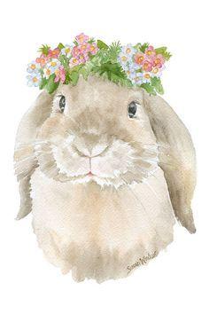 Lop Rabbit Floral Watercolor Painting 4 x 6 by SusanWindsor