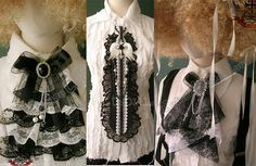 Victorian jabot and lace Goth ties, aristocrat costume.