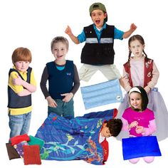 Weighted sampler kit includes one of each of Fun and Function's exclusive weighted products - weighted vest, compression shorts, weighted blanket, weighted fleece vest, and more! Perfect for a variety of calming tools for all sensory needs