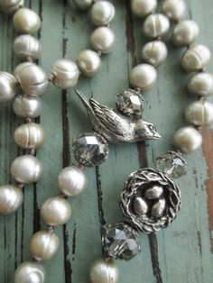 Pearl bird knotted necklace - Never Far from Home - neutral silver freshwater pearls oyster beige graduation gift boho by slashKnots