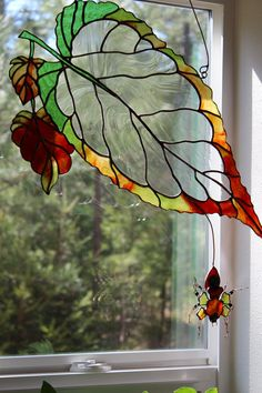 """""""Weaver"""" Stained Glass panel by Unikke Glas ~ 24"""" x 10"""" #StainedGlassDragonfly"""