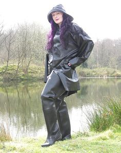Let me lick your rubber waders Mistress! Mackintosh Raincoat, Latex Wear, Rubber Raincoats, Wellies Boots, Rain Gear, Weather Wear, Raincoats For Women, Overall, Black Rubber