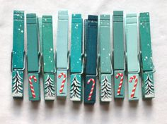 10 PAINTED CHRISTMAS CLOTHESPINS trees and candy by SugarAndPaint,
